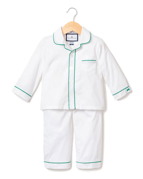 Petite Plume Contrast Piping Two-Piece Pajama Set, Size 6M-14