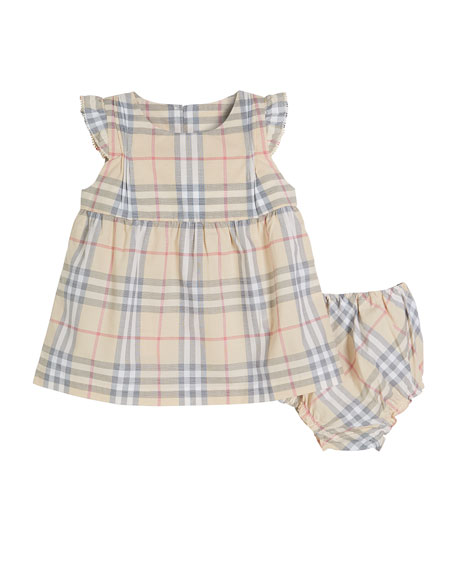Burberry Reanne Flutter-Sleeve Washed Check Dress w/ Bloomers, Size 3-18 Months