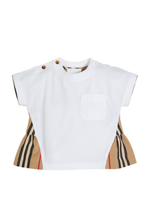 Burberry Mini Delilah Jersey Top with Icon Stripe Flyaway Back, Size 6M-2