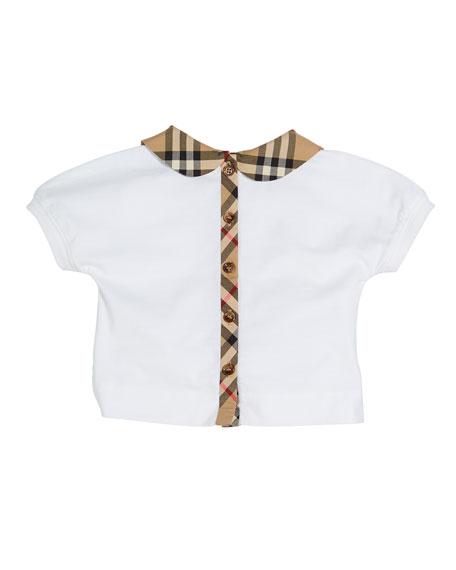 Burberry Mini Della Jersey Top w/ Check Collar, Size 6M - 2