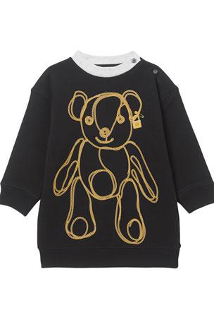 Burberry Girl's Chain Bear Fleece Sweatshirt Dress, Size 6M-2