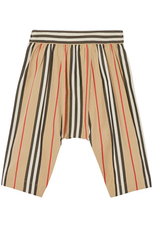 Burberry Girl's Liberty Gathered Icon Stripe Pants, Size 6M-2