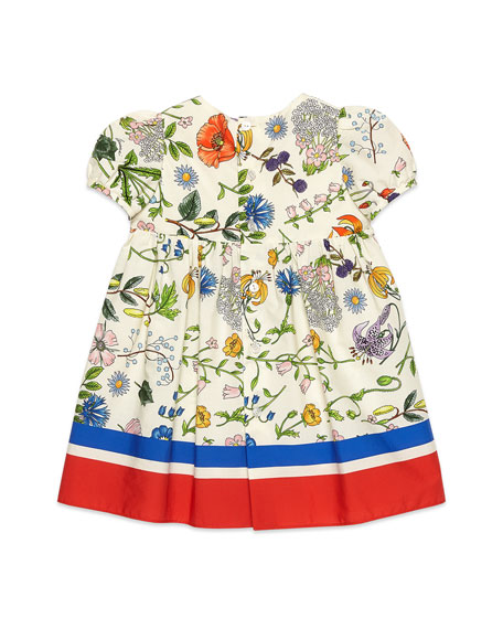 Gucci Flora Festival Printed Short-Sleeve Poplin Dress, Size 12-36 Months