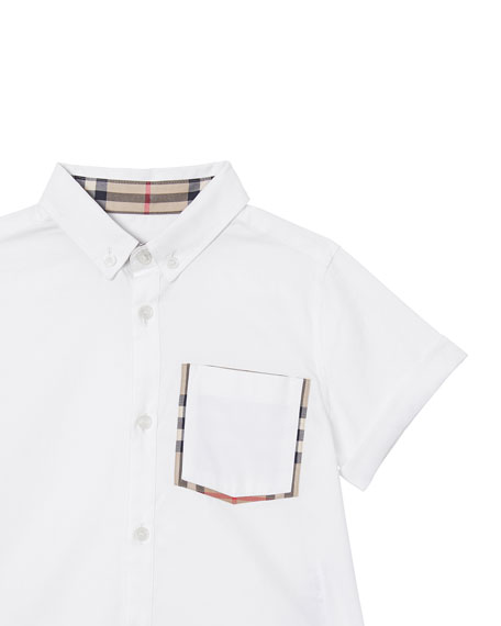 Image 2 of 4: Burberry Boy's Harry Button Front Shirt w/ Check Trim Pocket, Size 3-14
