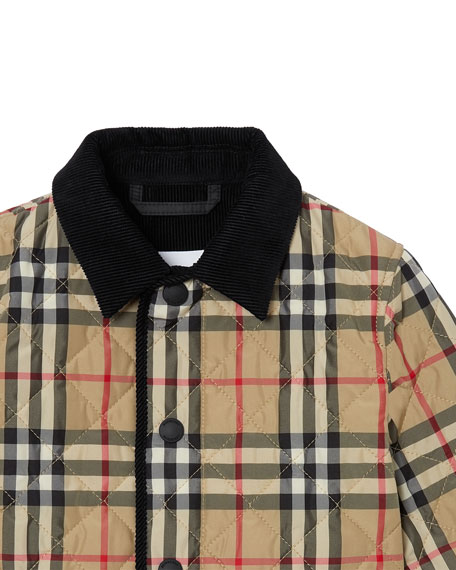 Burberry Boy's Culford Check Quilted Jacket, Size 6M-2