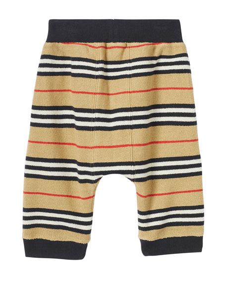Burberry Boy's Lance Icon Stripe Terry Cloth Joggers, Size 6M-2