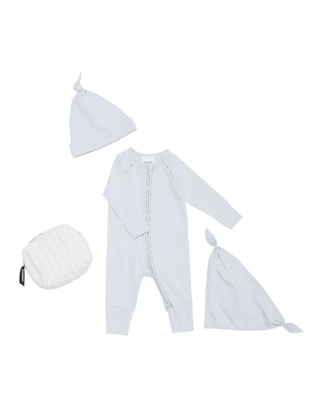 Burberry Dixie Zip Coverall w/ Hat & Bib, Size 1-12 Months