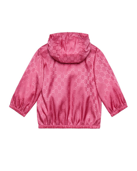 Gucci Girl's GG Embossed Zip-Front Hooded Wind-Resistant Jacket, Size 12-36 Months