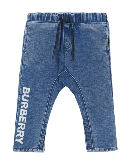 Burberry Boy's Curran Drawstring Denim Jeans w/ Logo Print Down Leg, Size 6M-2