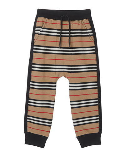 Boy's Lance Icon Stripe Jersey Jogger Pants, Size 3-14