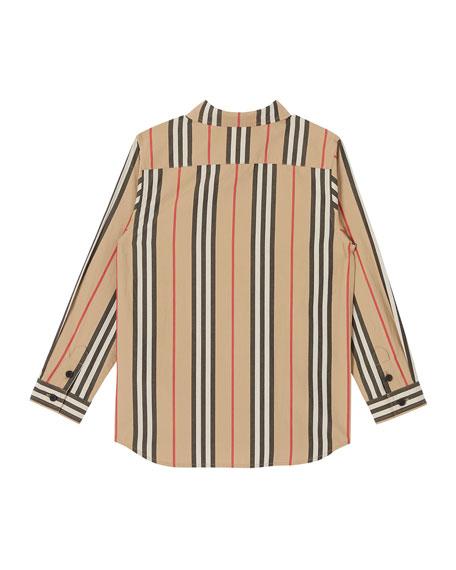 Burberry Boy's Fredrick Icon Stripe Long-Sleeve Shirt, Size 3-14