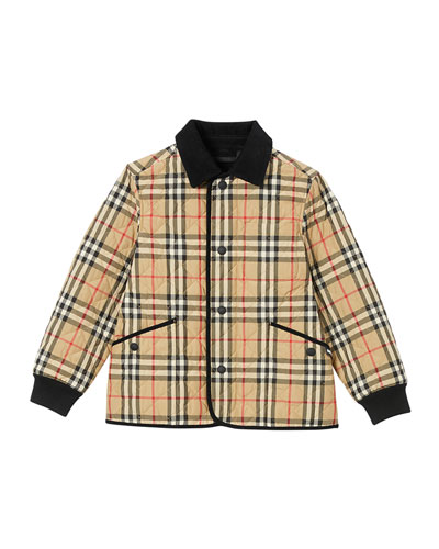 Boy's Cluford Check Quilted Jacket w/ Corduroy Trim, Size 3-14