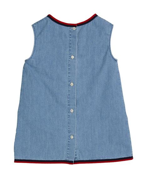 Gucci Girl's Stone Bleach Lightweight Denim Dress, Size 12-36 Months