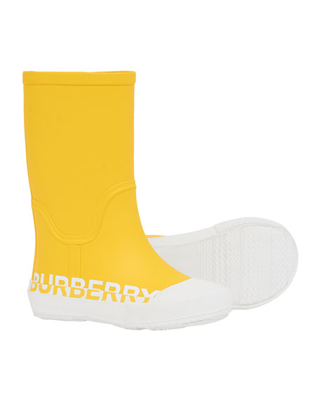 Burberry Hurston Two-Tone Logo Rubber Rain Boots, Baby/Toddler