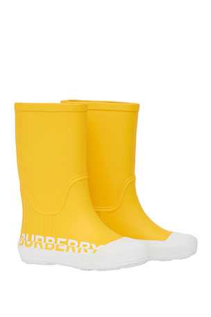 Burberry Hurston Two-Tone Logo Rubber Rain Boots, Baby/Toddler