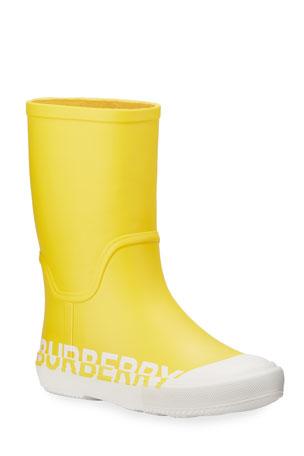 Burberry Hurston Two-Tone Logo Rubber Rain Boots, Toddler/Kids