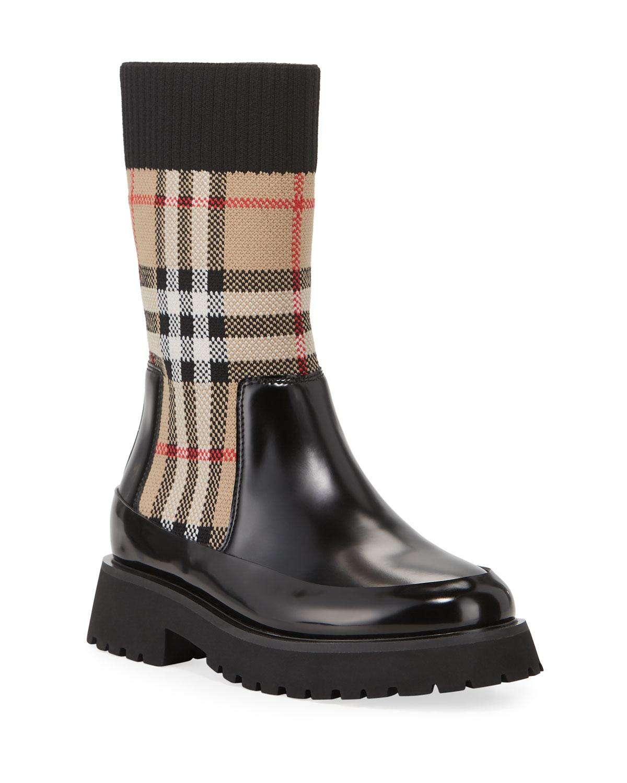 Burberry Mini Doug Check Sock Boot