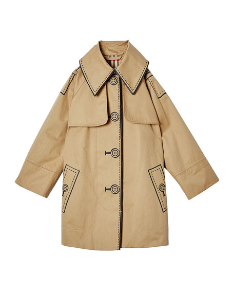 Burberry Girl's Bethel Trompe l'oeil Trench Coat, Size 3-14