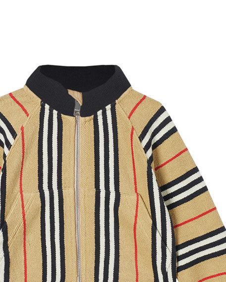 Burberry Boy's Lance Icon Stripe Terry Cloth Zip Jacket, Size 6M-2