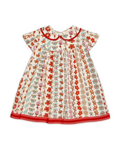 Gucci Girl's Floral Stripe Short-Sleeve Poplin Dress, Size 12-36 Months