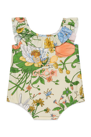 Gucci Girl's Floral Ruffle-Trim One-Piece Swimsuit, Size 6-36 Months