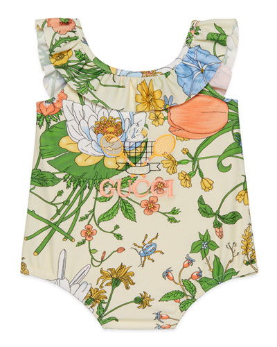 Girl's Floral Ruffle-Trim One-Piece Swimsuit  Size 6-36 Months