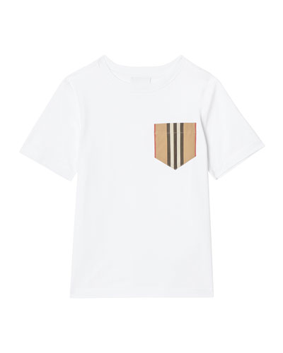 Boy's Short-Sleeve Icon Stripe Pocket Tee, Size 3-14