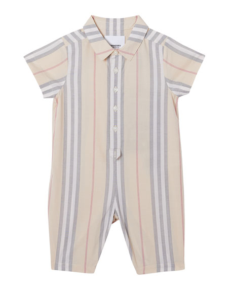 Burberry Boy's Kirk Check Romper, Size 3-18 Months