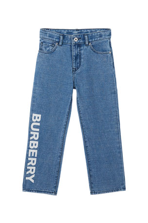Burberry Boy's Logo Print Relaxed Denim Jeans, Size 3-14