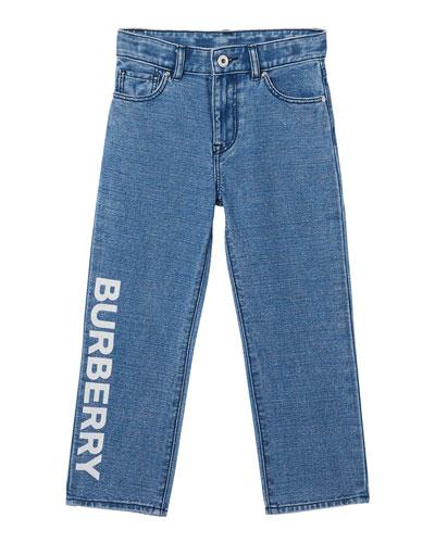 Boy's Logo Print Relaxed Denim Jeans  Size 3-14