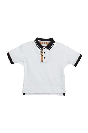 Burberry Boy's Archie Check-Trim Polo Shirt, Size 3-14