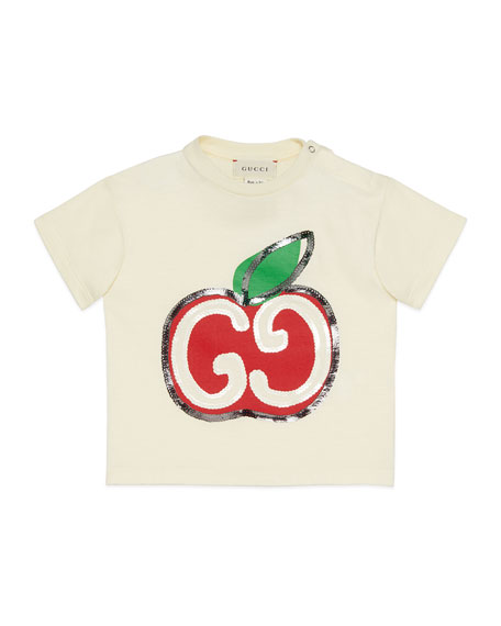 Gucci Girl's Sequin GG Apple Graphic T-Shirt, Size 12-36 Months