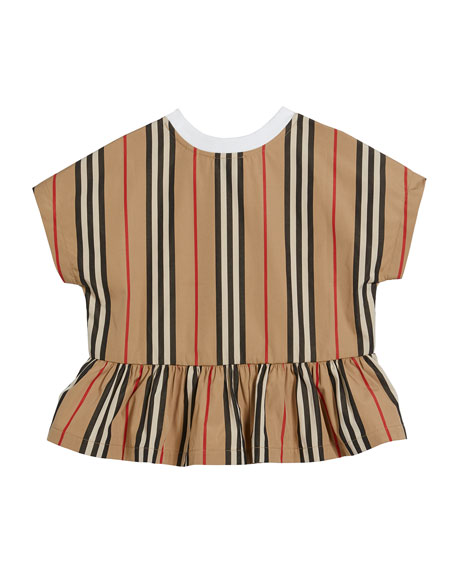Burberry Girl's Delilah Jersey & Icon Stripe Top, Size 3-14