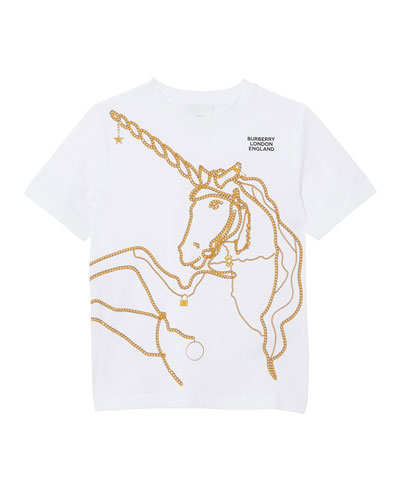 Girl's Chain Unicorn Short-Sleeve Tee, Size 3-14