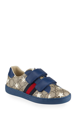 Gucci New Ace GG Supreme Stars-Print Sneakers, Kids