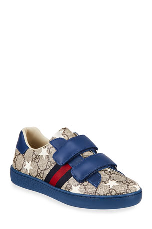 Gucci New Ace GG Supreme Stars-Print Sneakers, Toddler/Kid