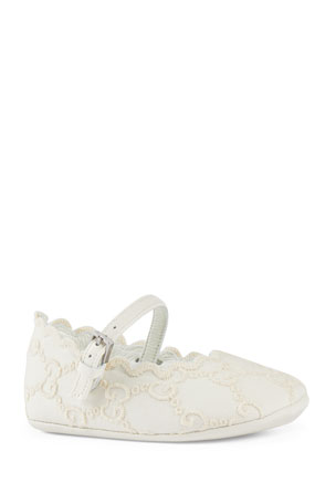 Gucci GG Embroidered Lace Ballet Flats, Baby