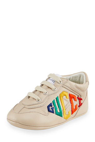 Gucci Rhyton Rainbow Logo Embroidered Leather Sneakers, Baby