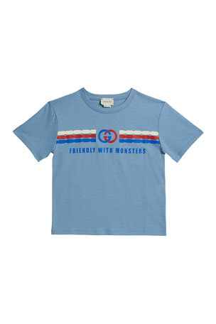 Gucci Kid's Friendly with Monsters Logo Tee, Size 4-12
