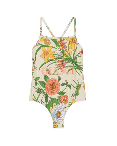 Girl's Floral Embroidered Tennis-Logo One-Piece Swimsuit  Size 4-10