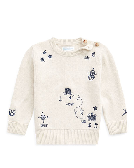 Ralph Lauren Childrenswear Boy's Nautical Embroidered Sweater, Size 6-24 Months