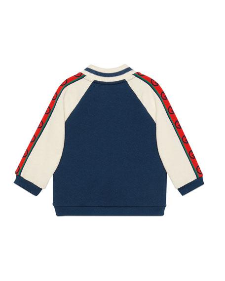 Gucci Boy's Fleece Zip-Front Baseball Jacket, Size 12-36 Months