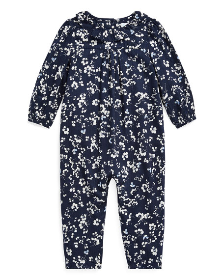 Ralph Lauren Childrenswear Girl's Floral Print Ruffle-Collar Coverall, Size 6-24 Months