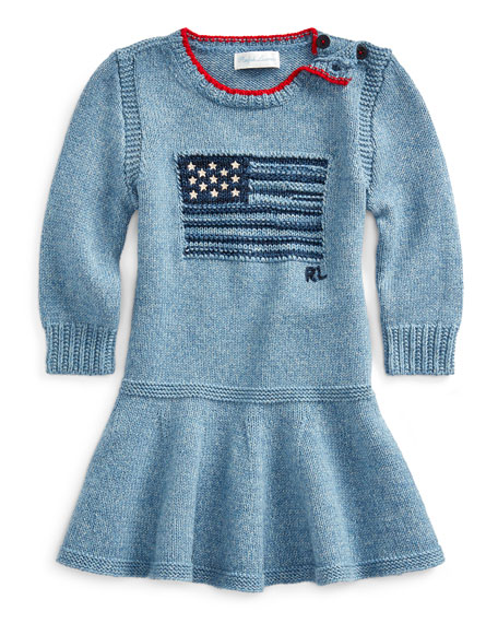 Ralph Lauren Childrenswear Girl's Flag Intarsia Long-Sleeve Dress, Size 3-24 Months
