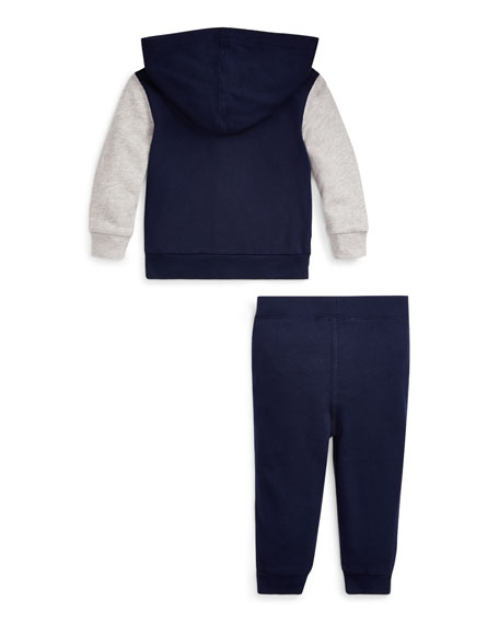 Ralph Lauren Childrenswear Boy's Polo Zip-Up Hooded Jacket w/ Matching Jogger Pants, Size 6-24 Months