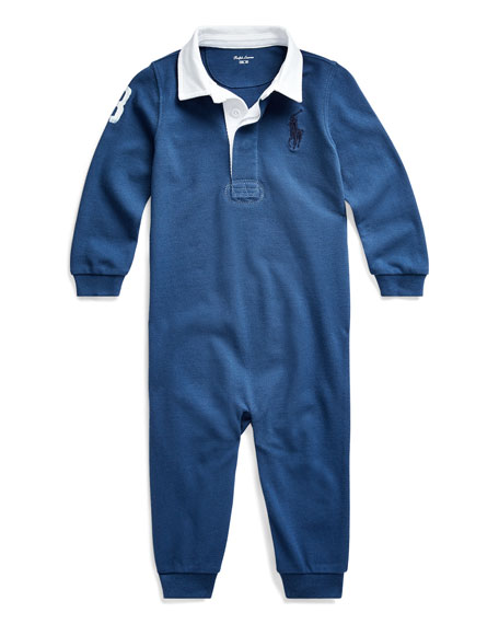 Ralph Lauren Childrenswear Boy's Heathered Rugby Compass Coverall, Size 6-24 Months