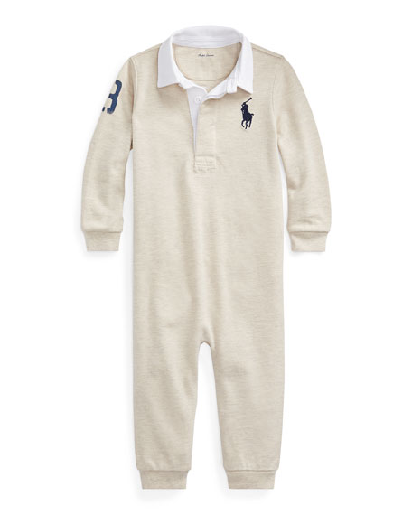 Ralph Lauren Childrenswear Boy's Heathered Rugby Coverall, Size 6-24 Months