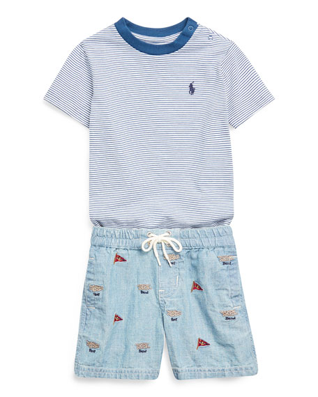 Ralph Lauren Childrenswear Boy's Striped Short-Sleeve Tee w/ Natural Embroidered Chambray Shorts, Size 6-24 Months