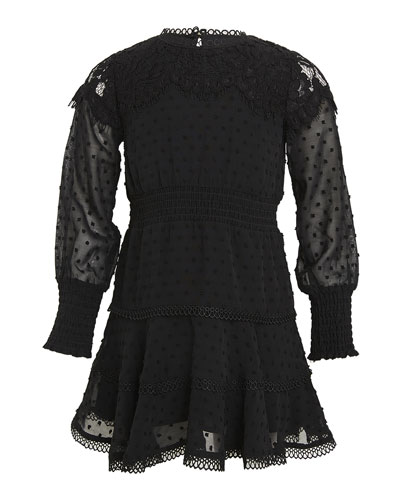 Girl's Liana Swiss Dot Lace Mini Dress  Size 7-16