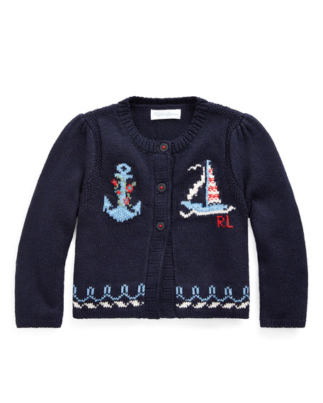 Ralph Lauren Childrenswear Girl's Nautical Intarsia Knit Cardigan, Size 6-24 Months